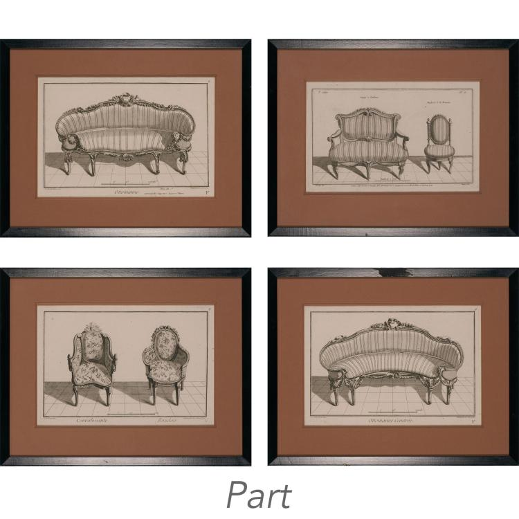 Various Artists [FRENCH SEATING FURNITURE DESIGNS] Ten engravings