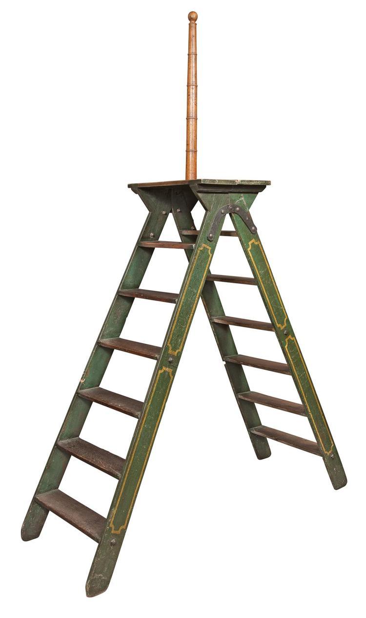 Victorian Green Painted and Iron Mounted Oak Folding Garden Ladder