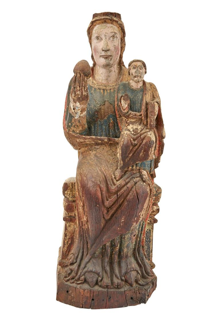 Continental Polychrome-Decorated and Parcel-Gilt Enthroned Madonna and Child