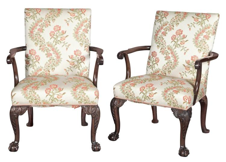 Pair of George II Mahogany Library Armchairs