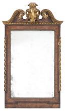 George II Burr Walnut and Parcel-Gilt Mirror