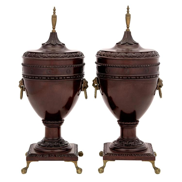 Pair of George III Style Brass-Mounted Mahogany Covered Urns
