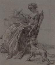 Studio of Thomas Couture A Seated Lady with a Dog