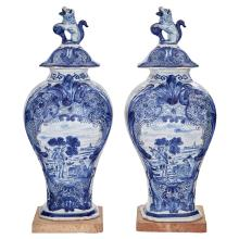 Pair of Dutch Delft Style Blue and White Faïence Covered Vases
