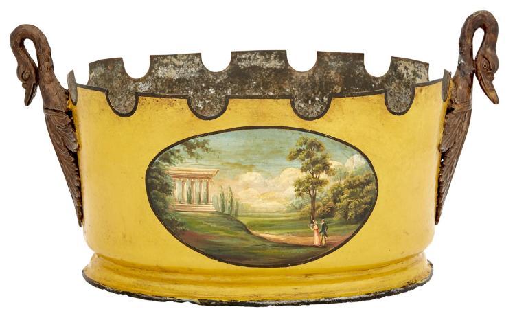 Continental Neoclassical Yellow Tôle-Peinte and Parcel-Gilt Verrière