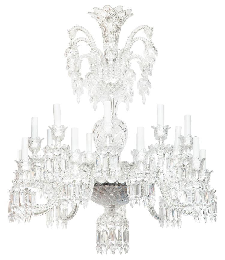 George III Style Molded Glass Eighteen-Light Chandelier