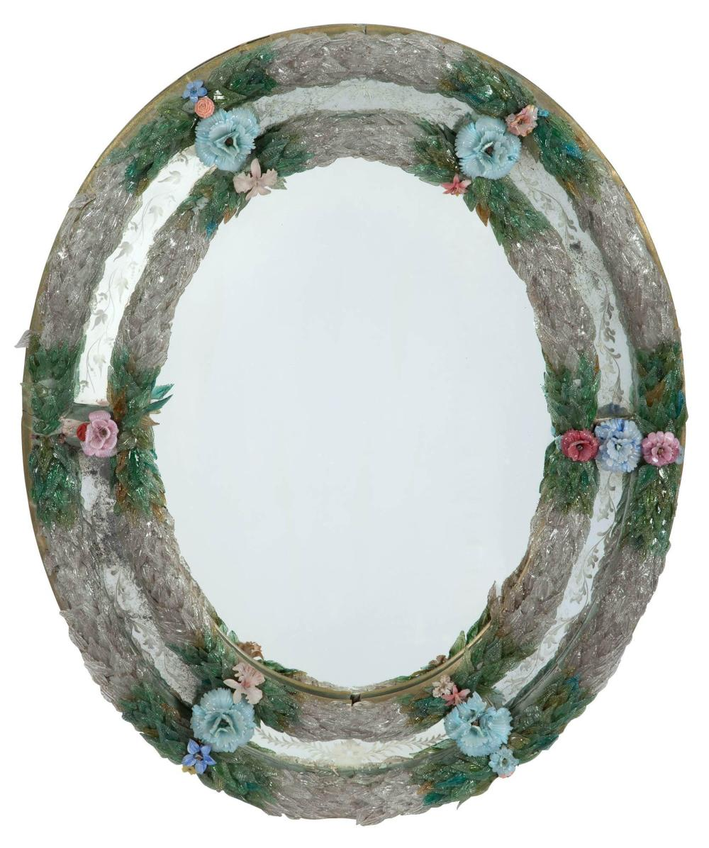Venetian Multicolored and Clear Glass and Mirror Framed Mirror