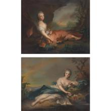 James Wells Champney American, 1843-1903 Marie Adelaide of France as Diana and Henriette of France as Flora, after Jean-Marc Nattier...