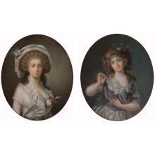 French School 18th/19th Century Portraits of Ladies with Flowers: Two
