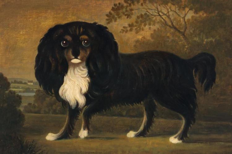 British Provincial School 19th/20th Century King Charles Spaniel in a Landscape