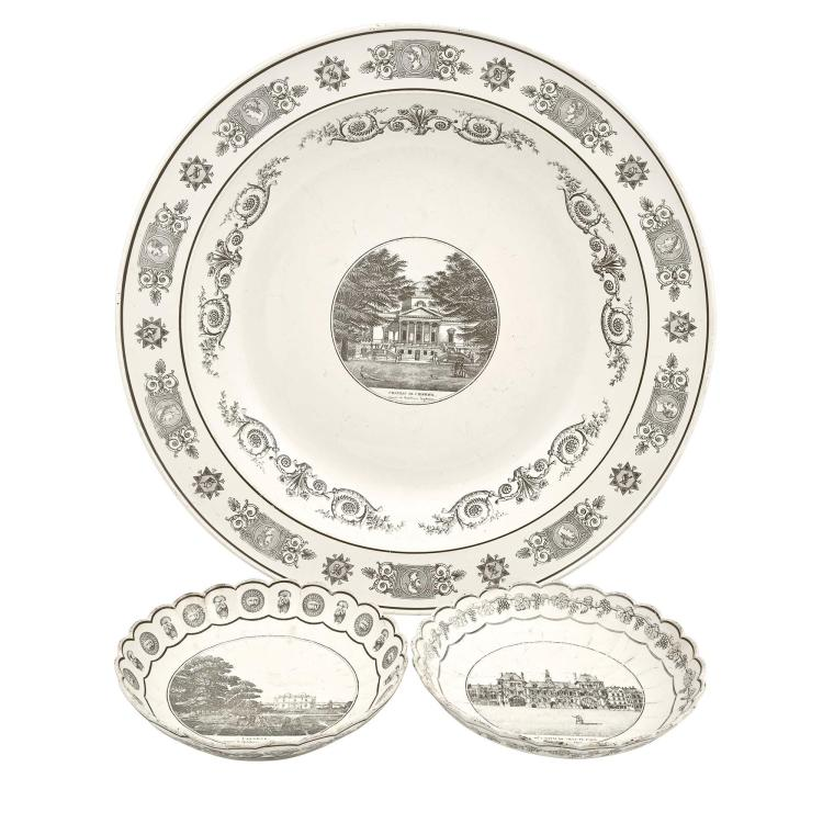 Paris Faïence Transfer-Decorated Topographical Large Charger; Together with Two Scalloped Bowls