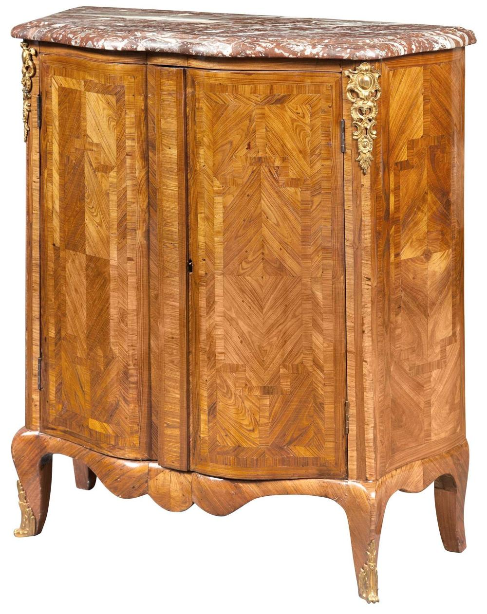 Louis XV/Louis XVI Transitional Gilt-Bronze-Mounted Tulipwood Parquetry Cabinet