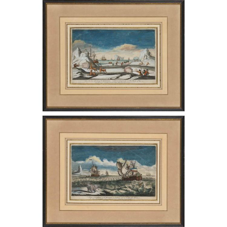 Carington Bowles, publisher THE SAILORS SHOOTING THE REINDEER...; SHIPS FREIGHTED WITH WHALE... Two hand-colored engravings