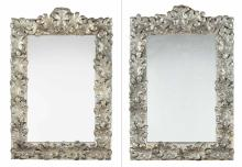 Pair of Silvered-Metal-Mounted Mirrors