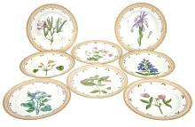 Set of Eight Royal Copenhagen Porcelain 'Flora Danica' Dinner Plates