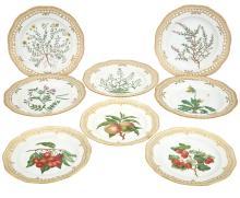 Set of 5 Royal Copenhagen Porcelain 'Flora Danica' Dinner Plates; T/W Set of 3 Royal Copenhagen Porcelain 'Flora Danica' Dessert Pl