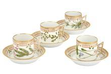 Group of Four Royal Copenhagen Porcelain 'Flora Danica' Cups and Saucers