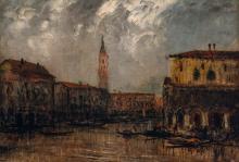 Edouard-Jacques Dufeu French, 1840-1900 Gondolas on a Canal, Venice