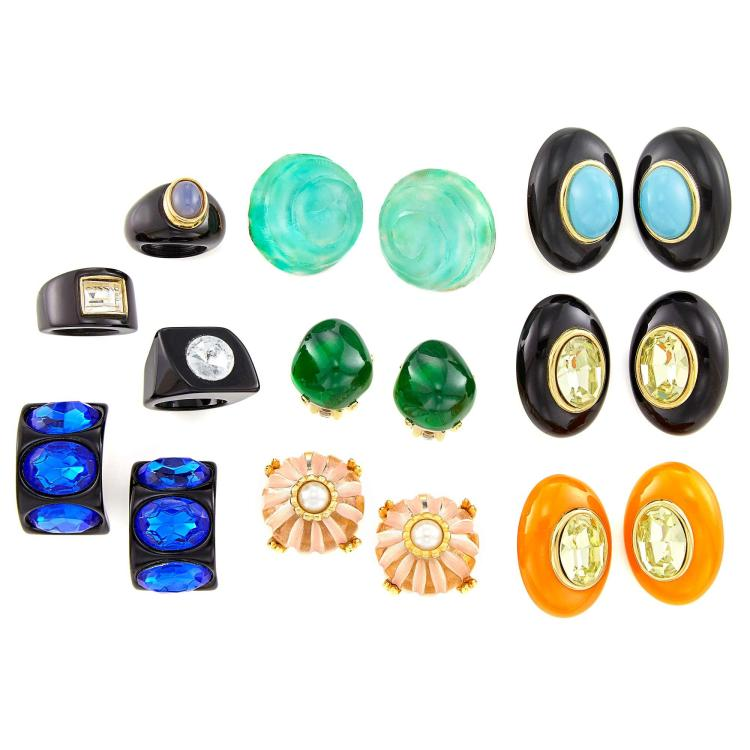 Group of Acrylic and Rhinestone Earclips and Rings