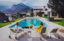 AARONS, SLIM (1916-2006)Poolside Gossip: Lita Baron, Nelda Linsk and Helen Dzo Dzo, Palm Springs, 1970.