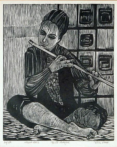 Ruth Leaf FLUTE PLAYER Woodcut