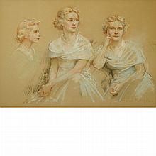 Henri-Paul Royer French, 1869-1938 Portrait of a Lady, Three Views