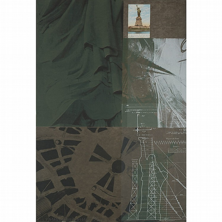 Robert Rauschenberg STATUE OF LIBERTY Color screenprint and collage