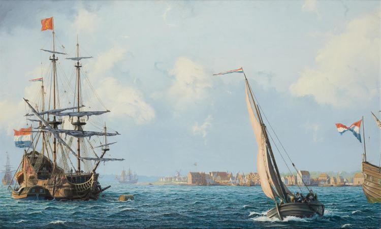 Raymond Massey British/American, b. 1938 Ferry to Brooklyn, New Amsterdam in 1660, 1981