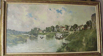 Pierre Louis Leger Vauthier French, 1845-1916 A FRENCH RIVER VILLAGE Signed Pierre Vauthier (lr)