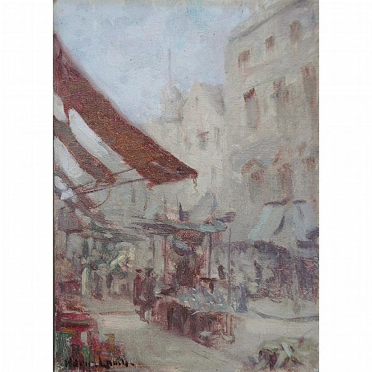 Adrian Lamb American, 1901-1988 Street Market in London