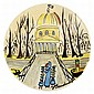 Ludwig Bemelmans L'INSTITUT Painted white ceramic plate