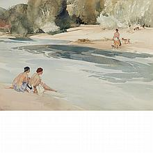 Sir William Russell Flint Scottish, 1880-1969 Julie, Francoise and the Goat Girl, 1947