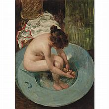 James Carroll Beckwith American, 1852-1917 Young Woman Bathing