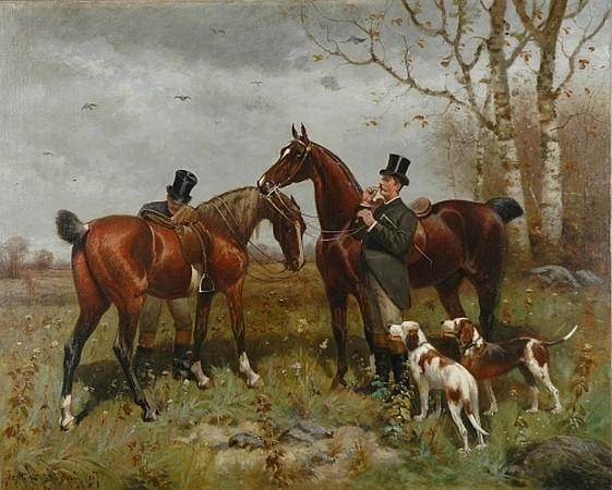 Scott Leighton American, 1849-1898 Hunters in a Landscape