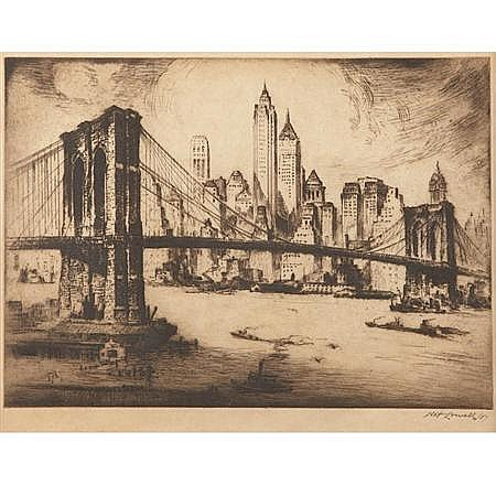 N. Lowell [NEW YORK VIEWS] 3 drypoints; t/w M. Lowengrund HUDSON RIVER BRIDGE..., drypoint; and Pennell WOOLWORTH BLDG, drypoint (5)