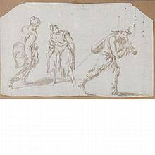 Neapolitan School  18th Century Four Men, One Astride a Horse and A Man Carrying a Pack, with Two Women Watching: Two