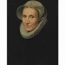 Dutch School 16th/17th Century Portrait of a Woman in a Millstone Ruff  Inscribed along the upper left edge: Aetatis 50