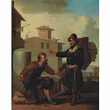 Johannes Lingelbach Dutch, 1622-1674 A Peddler Asking Directions from a Shoemaker