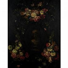 Circle of Gaspar Pieter Verbruggen Flowers Surrounding a Stone Cartouche with the Bust of a Young Girl