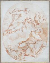 French School 18th Century Venus Receiving the Arms of Achilles at the Forge of Vulcan: A design for a ceiling Red...
