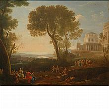 Manner of Claude Lorrain Figures Approaching a Temple in a Coastal