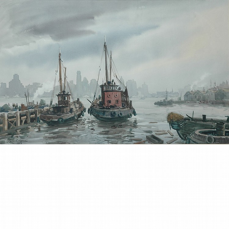 Vincente Pastor Calpena American, 1918-1993 Brooklyn Skyline From Foot of Fulton, 1958