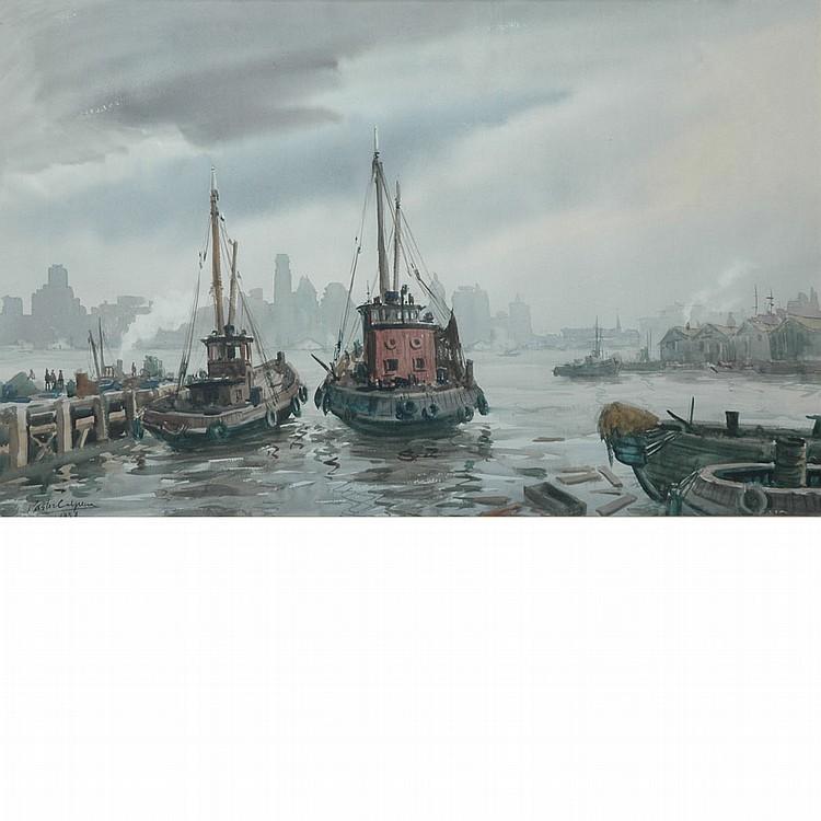 Vincente Pastor Calpena American, 1918-1993 Brooklyn Skyline From Foot of Fulton, 1958