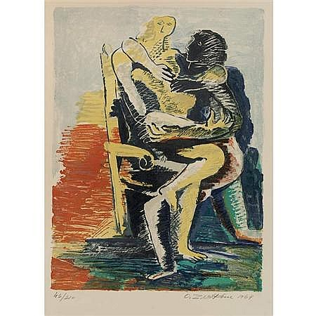 Ossip Zadkine [LOVERS] Color lithograph