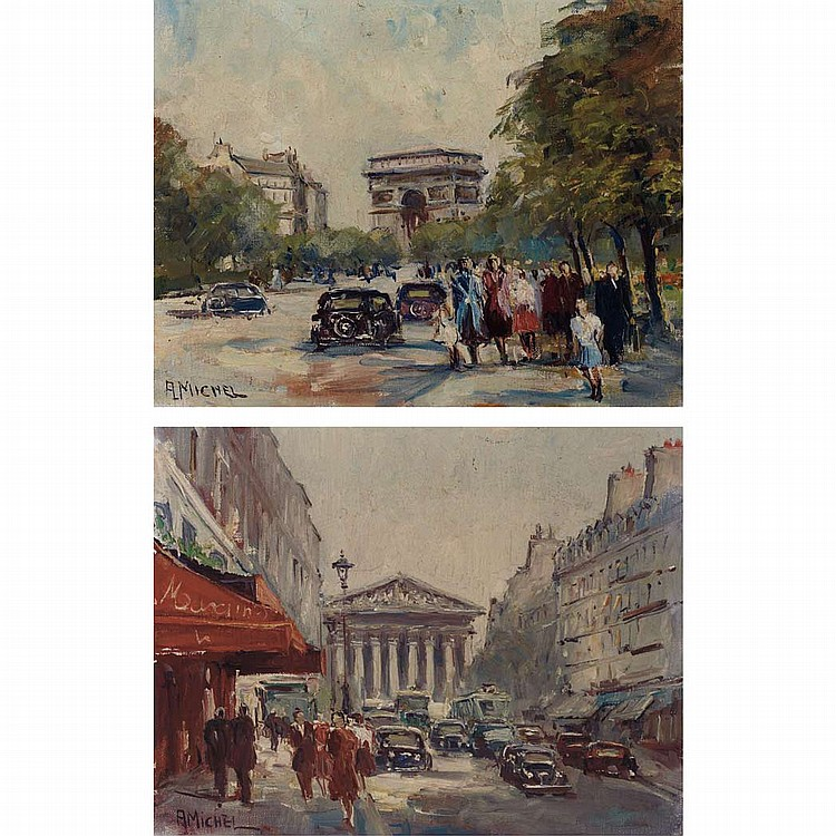 Andre Michel French, 20th Century Views of Paris: Two