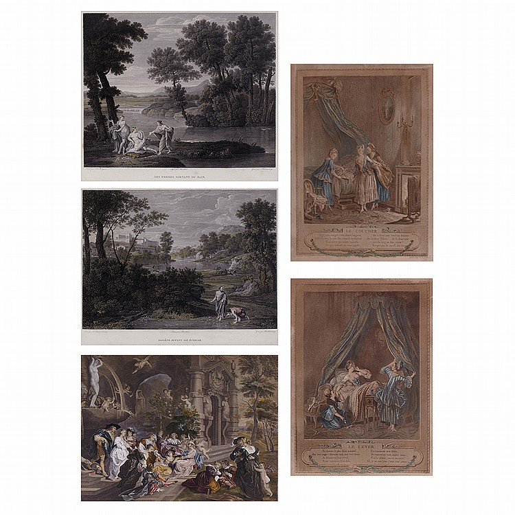 Sigmund Freudeberg LE COUCHER; LE LEVER Two color  prints; Together with Three Color Prints Depicting Figures in Landscapes (5)