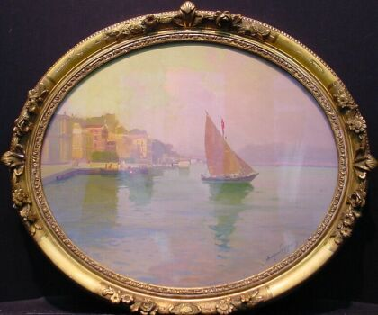 Ange Jacques Supparo French, b.1870 CONSTANTINOPLE Signed Ange Supparo (lr) Oil on board Oval, 20 1/4 x 24 1/8 inches