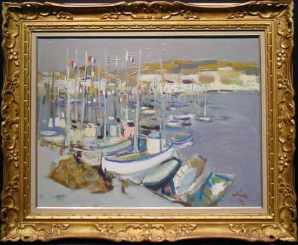 Claude Aliotti French, 1925-1989 BOATS IN A HARBOR Signed and dated Aliotti/'73 (lr) Oil on canvas 19 5/8 x 25 1/2 inches