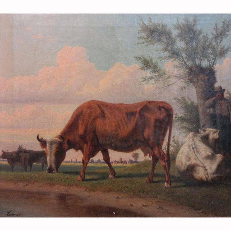 Attributed to Hermann Loeschin Cows Grazing