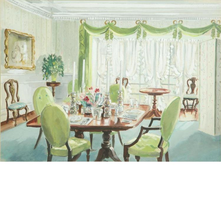 20th century school i the dining room table ii the dress for Dining room paintings sale